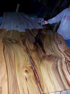 Live edge slab for rustic wood furniture.